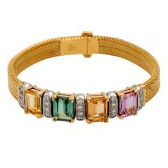 Bracelet with colored gemstones,