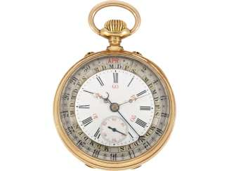 Pocket watch: glashütte rarity, not previously registered, Moritz Grossmann Glashütte, with a full calendar after the flesh Hauer Patent, No. 7601, CA. 1885, with certification from Glashütte