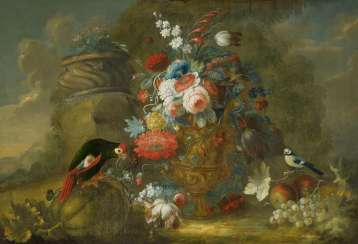 Large floral still life with a parrot