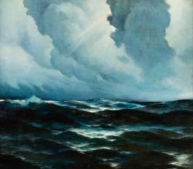 SERGEJ SCHWEINFURTH 1904 Moscow - 1965 New York Rough Seas Oil on canvas. 70 cm x 80
