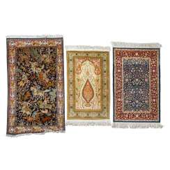 3 oriental carpets made of silk