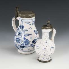 2 small faience jugs