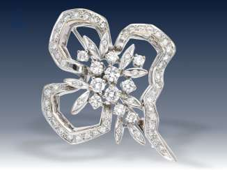 Brooch: white gold, quality vintage loop brooch with precious brilliant stocking rate of 1.7 ct