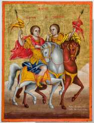 A rare and finely painted icon of the equestrian saints Sergius and Bacchus