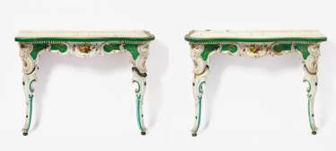 Pair Of Porcelain Consoles Style Rococo