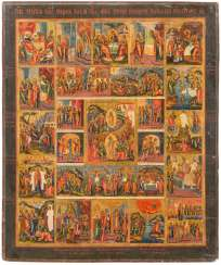 LARGE-FORMAT ICON THE RESURRECTION AND DESCENT INTO HELL OF CHRIST, THE PASSION, AND 16 HIGH-STRENGTH
