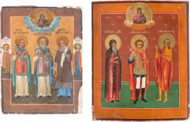 ICON WITH THREE SAINTS AND AN ICON WITH THE SAINTS SAMON, GURY AND AVIV