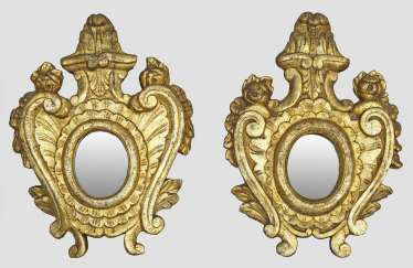 Pair of small wall mirrors in baroque style