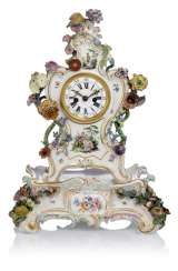 Porcelain mantel clock with Watteau painting
