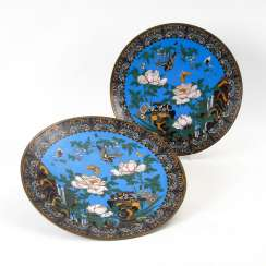 Pair of very large Cloisonné wall plate.