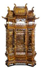 Magnificently carved and paint gold-plated control screen made of wood