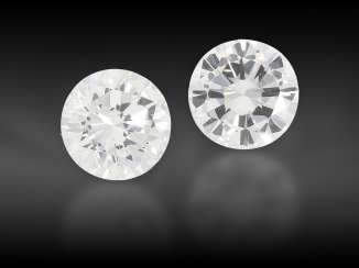 Brilliant: high-quality pair of diamonds, together approx. 0.66ct, from the liquidation of the court jeweler Roesner