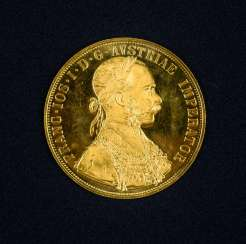 4 Austrian gold ducats, with Portrait of Emperor Franz Joseph I. of Austria, and the year 1915