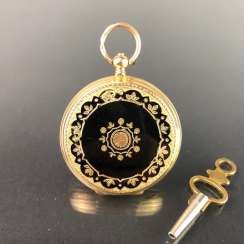 Key pocket watch / Frackuhr / cylinder pocket watch Yellow Gold 750, company Adolphe, Geneva / Switzerland, around 1890.