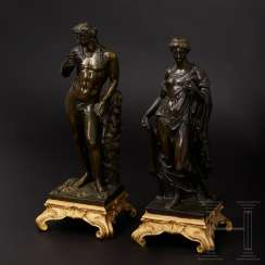 Bronze pair of figures depicting Dionysus and Nike, France, 19th century