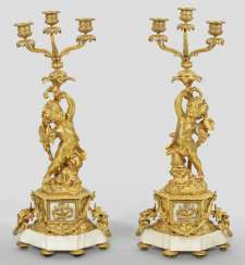 Pair of large Belle Epoque figure of girandoles