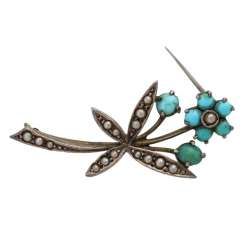 Silver brooch with Turquoise