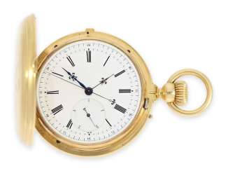 Pocket watch: technical interesting and very fine, heavy gold savonnette Chronograph with an independent second