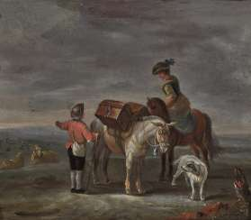 Monogrammist TQ (probably Tobias Querfurt, mentioned 1731-1776), 18th century, farmers with packed horses, sheep and goats