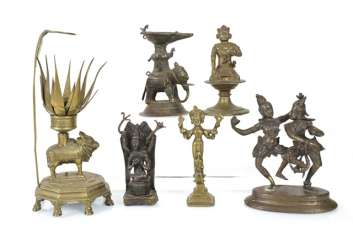 Six bronze sculptures, including an oil Lamp, Krishna and Radha