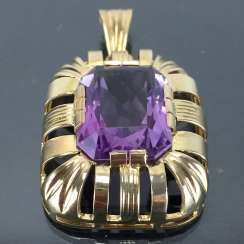Watchable pendant with Amethyst. Yellow gold 585. Hand-work.