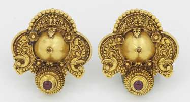 Pair of antique Indian wedding earrings with tourmalines