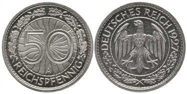 GERMANY 50 REICHSPFENNIG 1927 AND