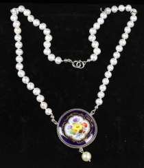 Necklace with antique Meissen porcelain pendant