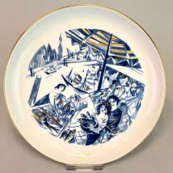 Institutional / wall plate: Meissen porcelain, on view in Hamburg's fish market and Gold adorns, very good.