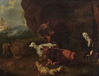 Netherlands - Shepherd with animals at the well, 17th century