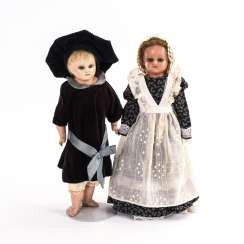 Pair of dolls with waxed heads