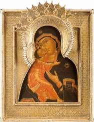 ICON OF THE MOTHER OF GOD OF VLADIMIR (VLADIMIRSKAYA) WITH VERMEIL-RIZA