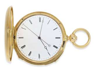 Pocket watch: very fine, technically complex gold savonnette with independent, anhaltbarer Seconde Morte, and quarter hour strike, Lepine Paris No. 6612, with original box, CA. 1840