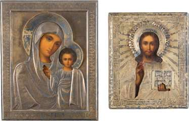 TWO SMALL ICONS WITH SILVER OKLAD CHRIST PANTOKRATOR AND MOTHER OF GOD OF KAZAN