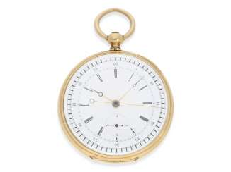 Pocket watch: very fine, early Chronograph, independent seconds, and a flash of 1/4 of a second, Switzerland, around 1860