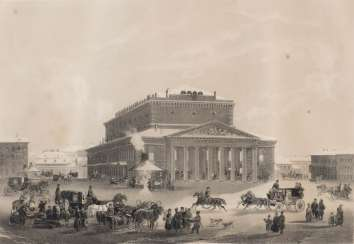 AUGUST DIETZ was active in the mid-19th century. View of the Bolshoy Theater in St. Petersburg. Lithograph on paper. Visible dimension: 31