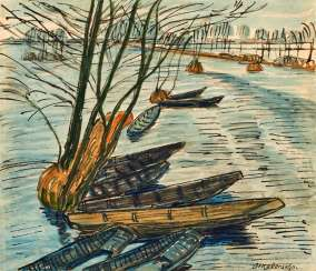 Fischerhuder flood landscape with boats