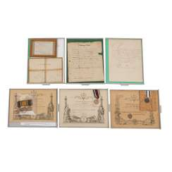 1870/71 Rare compilation of documents, award certificates