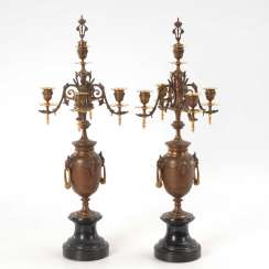 Pair of 5-lamp candelabra with Marmorso