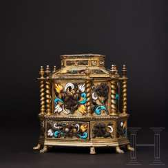 Vermeil casket with enamelled floral decoration, Flemish, 17th century