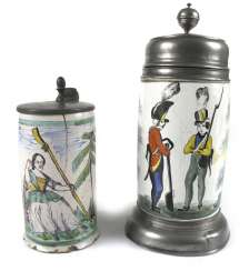 Two earthenware jugs with pewter mount. among other things, Gmunden, at the end of 18. Century