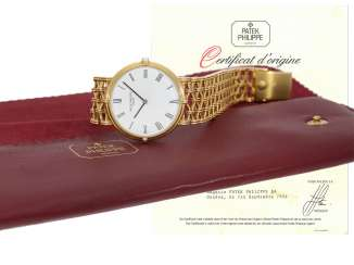Watch: luxurious and highly elegant, super-slim Patek Philippe 18K Gold reference 3821/1, Geneva, 1986, with original papers and original case