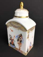 Tea caddy / lidded box: Meissen porcelain 1001 Arabian nights, gold plated, gold ornaments, Prof. Heinz Werner, very good.