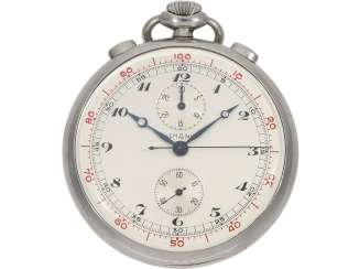 Pocket watch: extremely rare Lemania stainless steel Chronograph with extra decimal division, 30 years