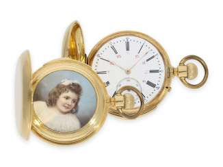 Pocket watch: early Le Coultre gold savonnette with a hidden, ultra-fine enamel magnifying glass painting, minute repeater, No. 4038, CA. 1890