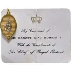 King Hussein I of Jordan (1935-99) - diamond-gold pendant with silver font characters