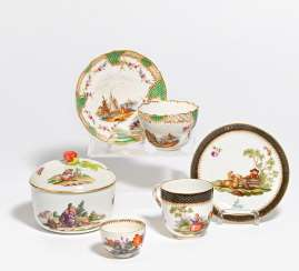 Sugar bowl, 1 cup with saucer, cup with different decors