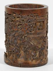 Bamboo brush Cup with figural scenes