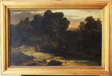 Unknown Artist, Landscape , oil canvas, framed, signed, 19. Century