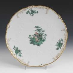 Cake plate with copper green painting, MEISSEN